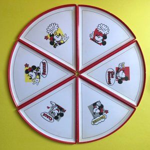 ONE OF A KIND Set of 6 Disney Mickey Pizza Plates